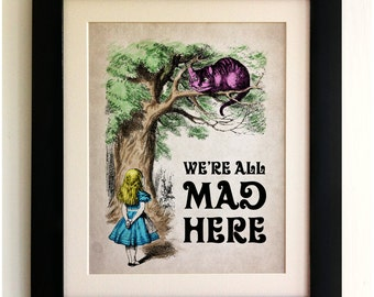 FRAMED Alice in Wonderland Print - Alice with the Cheshire Cat, We're All Mad Here, Vintage Style, Shabby Chic, Wall Art Print, Picture Gift
