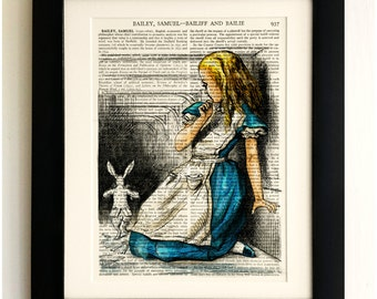FRAMED ART PRINT on old antique book page - Alice in Wonderland, White Rabbit, Vintage Upcycled Wall Art Print Encyclopaedia Dictionary Page