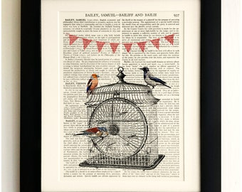 FRAMED ART PRINT on old antique book page - Square birdcage, birds & bunting, Vintage Upcycled Wall Art Print Encyclopaedia Dictionary Page