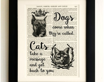 FRAMED ART PRINT on old antique book page - Cats and Dogs Quote, Vintage Upcycled Wall Art Print Encyclopaedia Dictionary Page