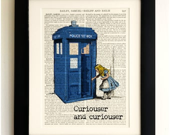 FRAMED ART PRINT on old antique book page - Alice in Wonderland & the Tardis, Vintage Upcycled Wall Art Print Encyclopaedia Dictionary Page
