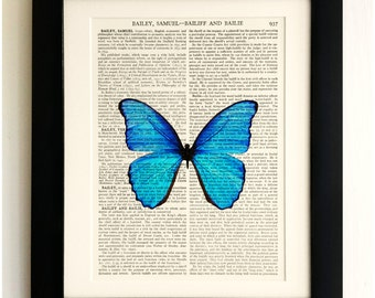 FRAMED ART PRINT on old antique book page - Big Blue Butterfly, Insect, Vintage Upcycled Wall Art Print Encyclopaedia Dictionary Page