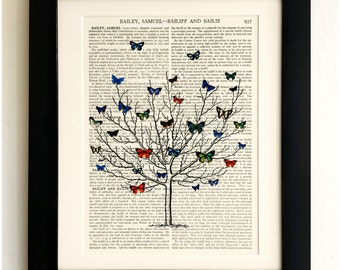FRAMED ART PRINT on old antique book page - Short tree, Butterflies, Insects, Vintage Upcycled Wall Art Print Encyclopaedia Dictionary Page