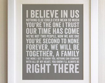 FRAMED Lyrics Print - Bryan Adams, I'll Always Be Right There - 20 Colours options, Black/White Frame, Wedding, Anniversary, Valentines