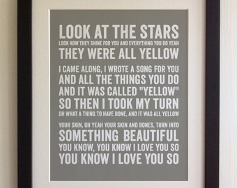 FRAMED Lyrics Print - Coldplay, Yellow - 20 Colours options, Black/White Frame, Wedding, Anniversary, Valentines, Fab Picture Gift