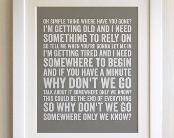FRAMED Lyrics Print - Keane, Lily Allen, Somewhere only we know- 20 Colours options, Black/White Frame, Wedding, Anniversary, Valentines