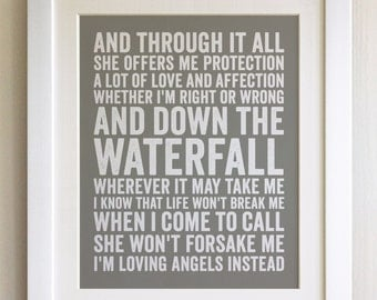 FRAMED Lyrics Print - Robbie Williams, Angels - 20 Colours options, Black/White Frame, Wedding, Anniversary, Valentines, Fab Picture Gift