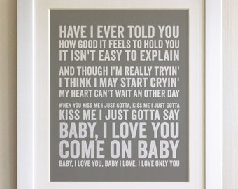 FRAMED Lyrics Print - The Ramones, Baby I Love You - 20 Colours options, Black/White Frame, Wedding, Anniversary, Valentines, Fab Picture
