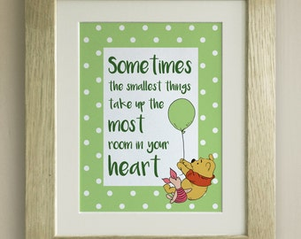 FRAMED Winnie the Pooh QUOTE PRINT, New Baby/Birth Nursery Picture Gift, Pooh Bear, Sometimes the smallest things, Heart, 4 colours
