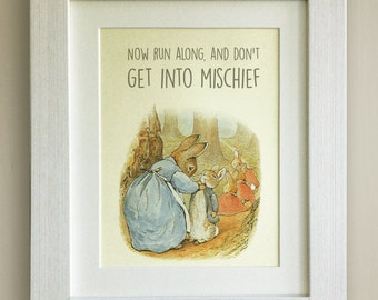 "BEATRIX POTTER Peter Rabbit Quote Print, New Baby/Birth, Nursery Picture, *UNFRAMED* Lovely Birth/Christening Gift, 10""x8"""