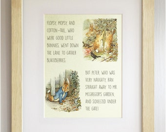 FRAMED Beatrix Potter Peter Rabbit Quote Print, New Baby/Birth, Nursery Picture, 3 Frame Options, Lovely Birth/Christening Gift, 12X10""