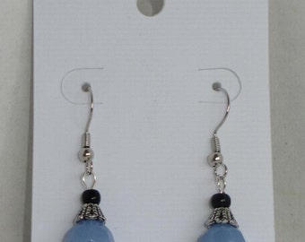 Aqua Blue, Black and Silver Earrings