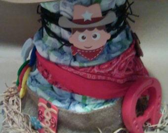 Diaper cake,cowboy diaper cake,boy diaper cake,cake, center piece,cowboy cake,western cake,western diaper cake,boy cake,diapers,cake,decor