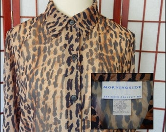 Vintage Secretary Tunic Blouse Cheetah Animal Print Sheer Buttoned Top USA 201