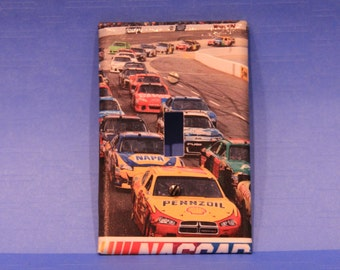 Nascar light switch   Handmade decoupaged light switch cover.
