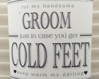 "Fabulous Groom's Wedding Gift from Bride ""Just In Case You Get Cold Feet"" Label (Add Your Own Socks!) Plus Optional I Do Shoe Stickers Too!"