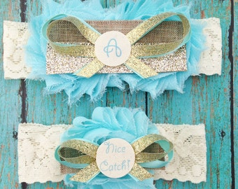 Aqua and Gold Personalized Wedding Garters | Initial Canvas Something Blue Wedding Garters | Nice Catch Toss Garter | Customize Your Colors