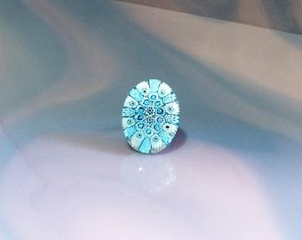 Beautiful Blue Murano Glass Ring Handmade Millefiori Glass