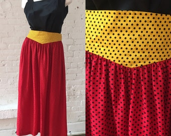 Julie Francis 1980s Red and Yellow Skirt with Black Polka Dots