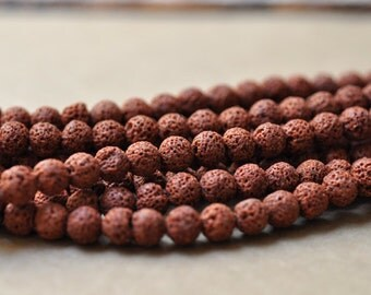 Brown Lava Round 8mm black lava beads 16 Inch Strand