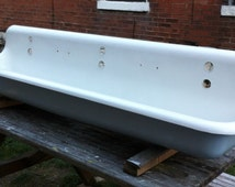 Antique Cast Iron Industrial Trough Sink 6 Foot Long Three