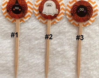 Set Of 12 Halloween Cupcake Toppers Of Your Choice