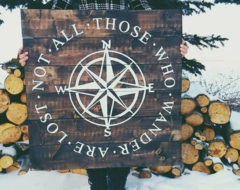 Not All Those Who Wander Are Lost Compass Wood Sign. Rustic Decor. Farmhouse Decor. Shabby chic decor. Wooden Signs. Wood Art.