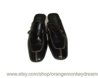 vintage FRANCO SARTO mules clogs Kitten heels BLACK leather indie boho women size 6 1/2 us 37