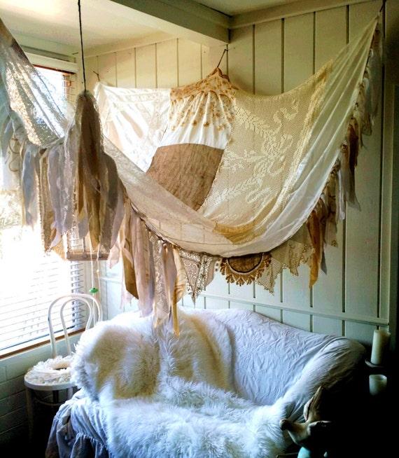 Shabby Chic Boho Bedroom: Bed Canopy Rustic Shabby Chic Boho Wedding Bohemian Hippy MADE