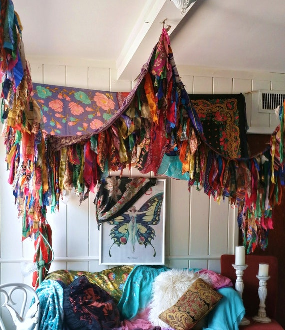 Boho Bedroom Patio Canopy Bohemian Hippy Vtg Bed Scarves Gypsy