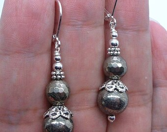NovaDesign Simple Pyrite  Sterling Silver  Earrings  -- Leverbacks !