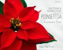 Crochet Poinsettia Pattern - Crochet Christmas Star Pattern - Christmas Crochet Pattern - Christmas Gift Pattern - Christmas Home Decor