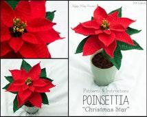 Crochet Christmas Flower Pattern - Crochet Poinsettia Pattern - Crochet for Christmas - Christmas Gift DIY - Christmas Decor