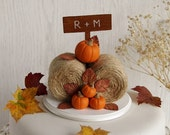 Rustic Pumpkin Hay Bales Cake Topper - Fall Wedding Cake Topper - Barn Wedding Topper - Farm Wedding - Pumpkin Cake Topper - Autumn Wedding