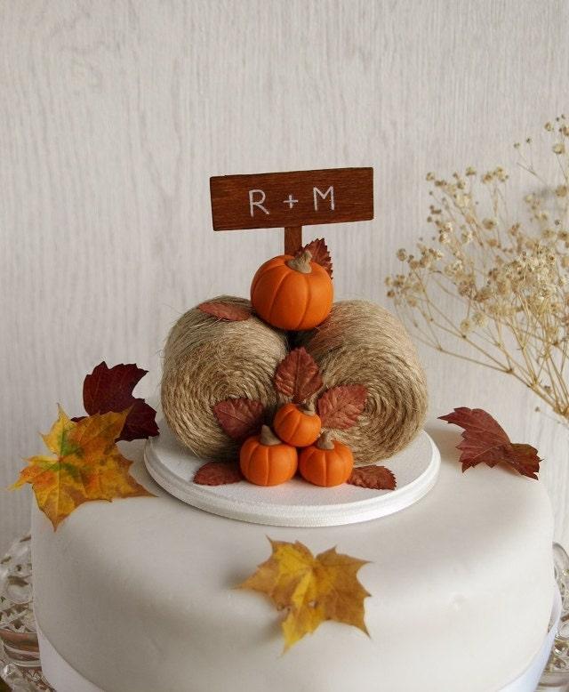 Rustic Pumpkin Hay Bales Cake Topper Fall Wedding Cake