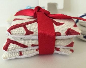 Emma Bridgewater PLUM 3 organic lavender sachets bundles with ribbon