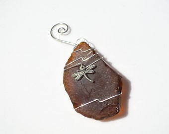 Amber Brown Sea Glass Ornament with a Silver Dragon Fly