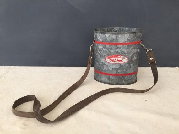 Vintage Old Pal Bait Bucket Pail Galvanized Minnow Bucket