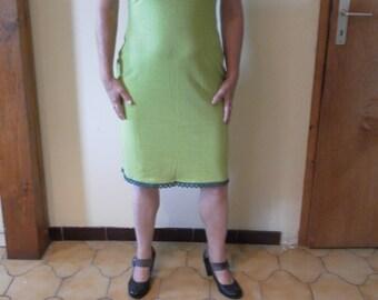 Dress light green organic hemp/cotton