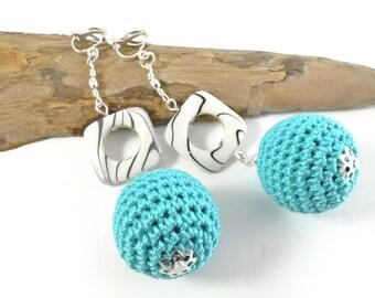 Handmade Turquoise Crochet Earrings or Clip on Earrings, Turquoise Earrings, Crochet Earrings, Silver Earrings / Katarzyna Bodera Sandycraft