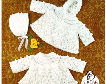 Baby Hooded Sweater and Top knitting retro pattern in PDF instant download version ( DK pattern )