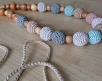 Crochet necklace.Breastfeeding.Nursing necklace.Blue necklace.Juniper.Orgsnic cotton.Teething necklace.