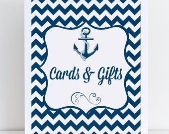 Nautical Cards and Gifts Sign Printable, Bachelorette, Wedding Party Favors, Bridal Shower, Bridal Party Favor, Gift Table Sign, Gift Table