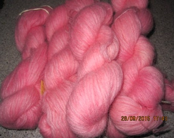 Icelandic pure wool, hand dyed with Cocineal 090915-3. 50 gr. pr skein.
