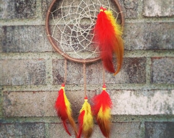 Natural Dyed Red and Yellow Feathers Hemp Dreamcatcher