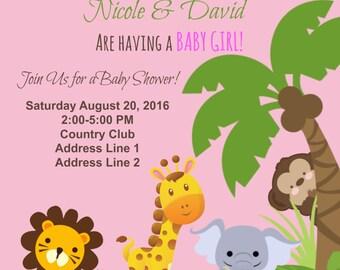 Baby Shower Jungle Theme Invitation