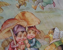 IMPS sheltering under Toadstool Umbrella's chatting to Mrs Duck - Nursery Room Print - Bee & Mouse A L Bowley 1914 - Matted - Ready to Frame