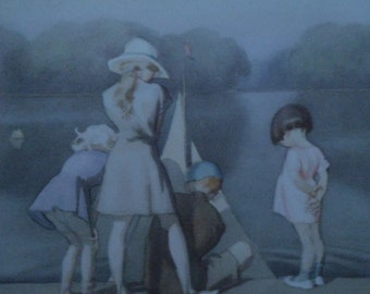 J H DOWD -Vintage Children's Print 1937 - Three Girls watching a Boy and his Boat -Pond Scene - Pastel Colours - Matted - Ready to Frame