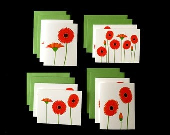 Orange Gerbera - 2 Sets of 4 Greeting Cards w/ Green Envelopes