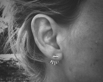 Micro Sunburst Ear Jacket & Tiny Bar Stud Combo - Sterling Silver - Pair of Studs and Jackets - Front Back Earring Set